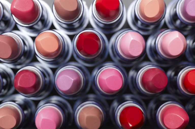 Overhead view of lipsticks