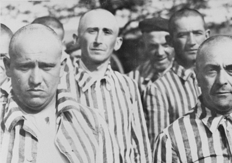 Male prisoners at Auschwitz.