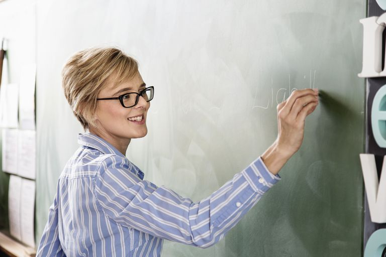 Female teacher in classroom, writing on blackboard