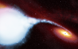 An artistic view of material being gravitationally sucked off a a blue supergiant variable star onto a black hole known as Cygnus X-1.