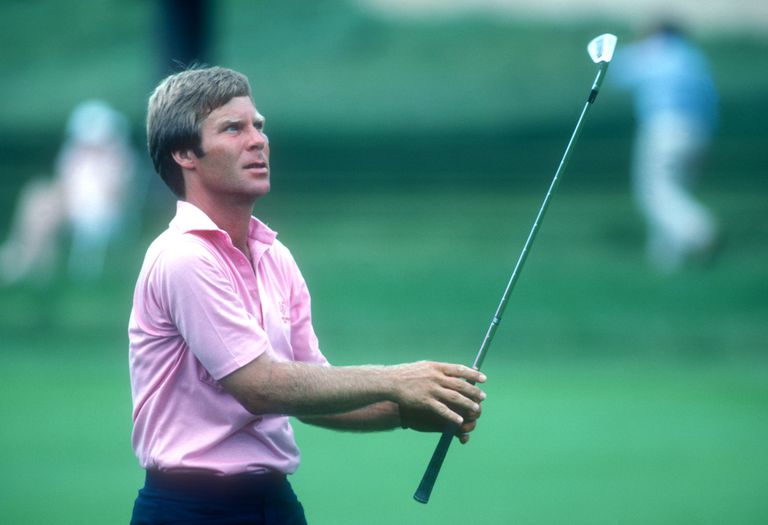 Ben Crenshaw follows his ball during the 1982 Manufacturers Hanover Westchester Classic golf tournament.