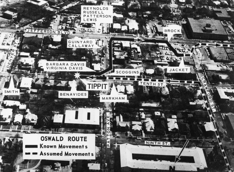 A map of Oak Cliff in Dallas, showing the location of eyewitnesses to the movements of Lee Harvey Oswald in the vicinity of the killing of police officer J. D. Tippit, 22nd November 1963. Tippit was shot by Oswald whilst attempting to bring him in for questioning in relation to the assassination of President John F. Kennedy