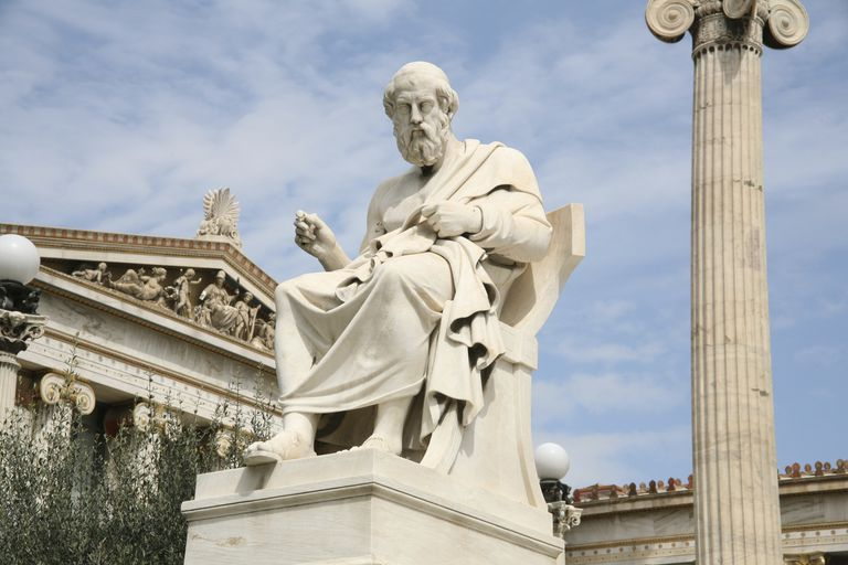Statue of the Greek philosopher Plato (c. 428 B.C.-348 B.C.) in front of the Academy of Athens
