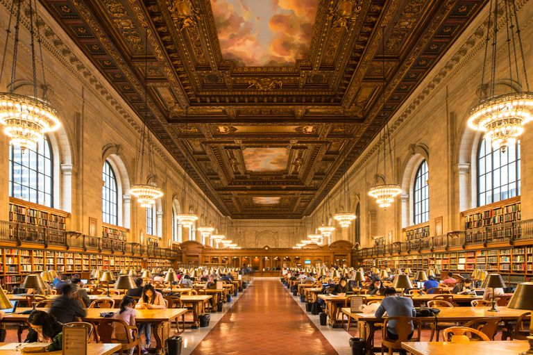 People studying in the New York Public Library.