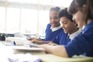 Schoolboys and schoolgirls learning in classroom