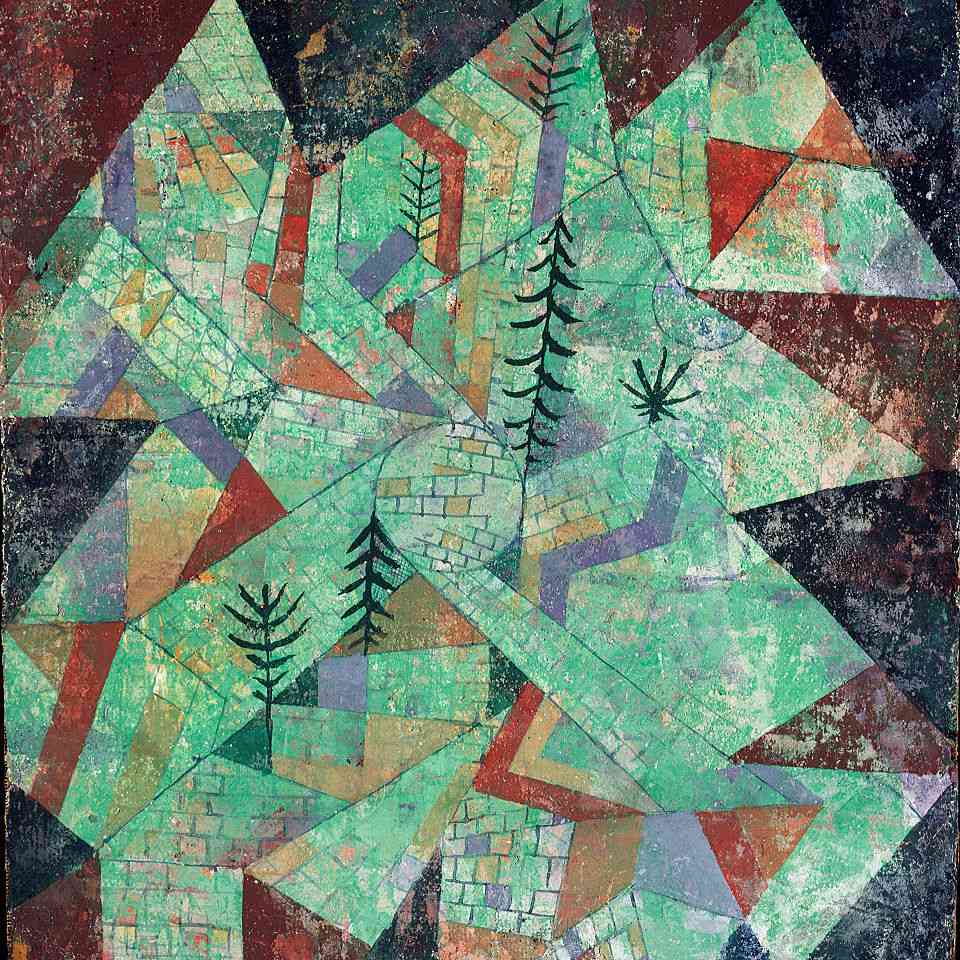 Abstract mixed-media painting of a forest