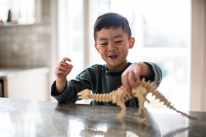 Kid playing with dinosaur model
