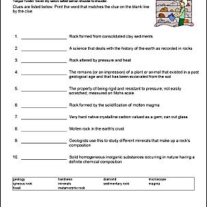 Rocks Vocabulary Worksheet