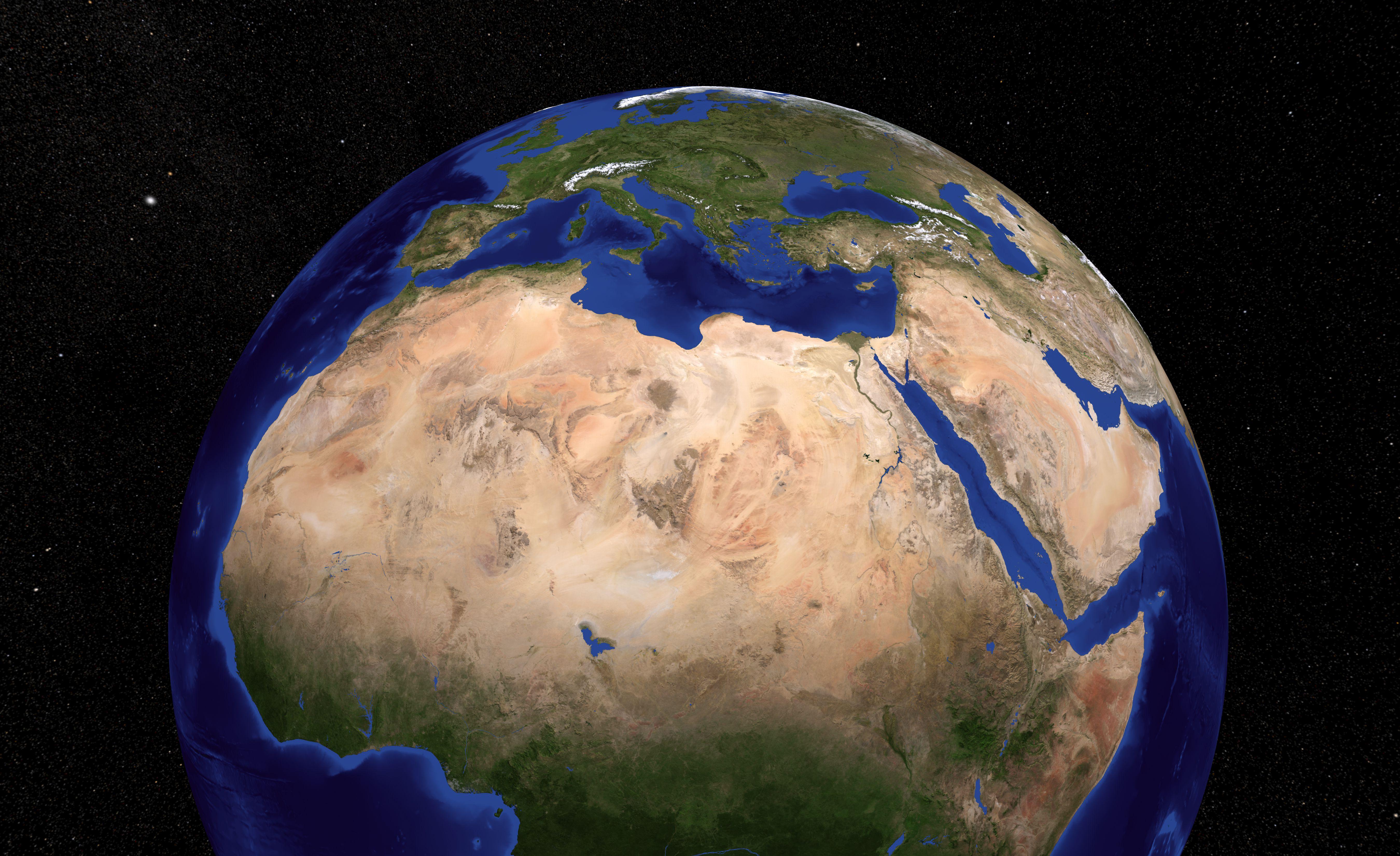 3D rendering of the Sahara Desert from space.