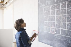 A woman figuring out a monthly schedule on a chalkboard