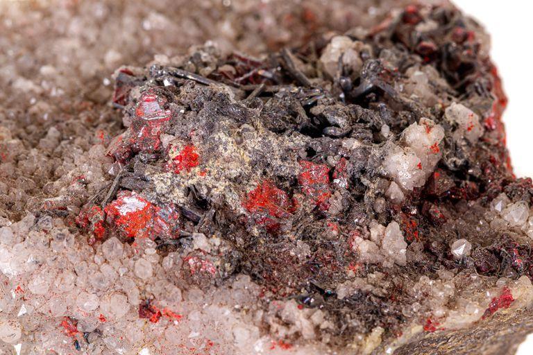Macro stone Cinnabar with mineral stibnite
