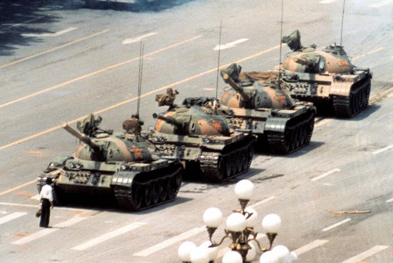 """The iconic """"Tank Man"""" photo from the Tiananmen Square Massacre. Beijing, China (1989)."""