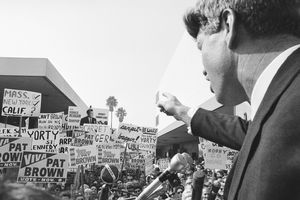 Kennedy Campaigns For Brown