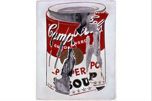 Andy Warhol's appropriated Campbell's soup artwork with a torn and shredded label