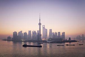 China, Shanghai skyline at dawn