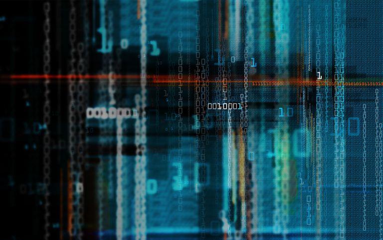 Digitally generated image of binary code