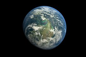 Planet Earth against black background