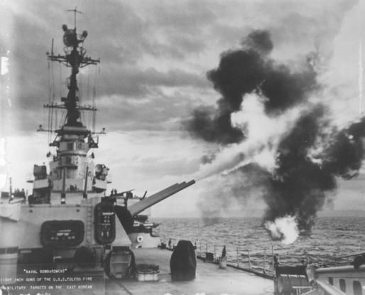 U.S.S. Toledo bombards east coast of Korea, 1950.