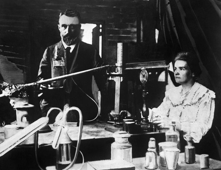 Chemists Pierre and Marie Curie in Laboratory