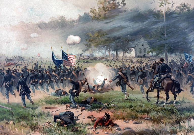 Lithograph of fighting at the Battle of Antietam