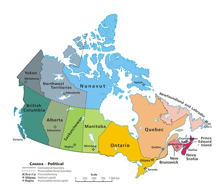 Canadian political map