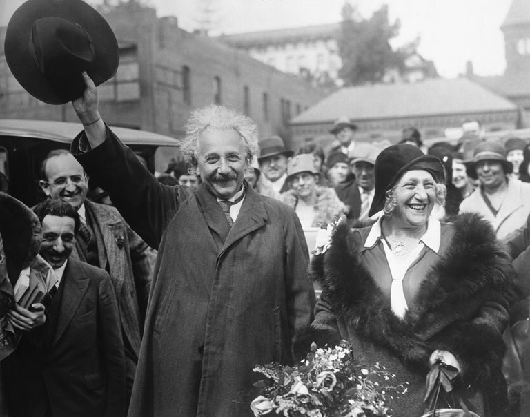 Albert Einstein and His Wife Leaving California