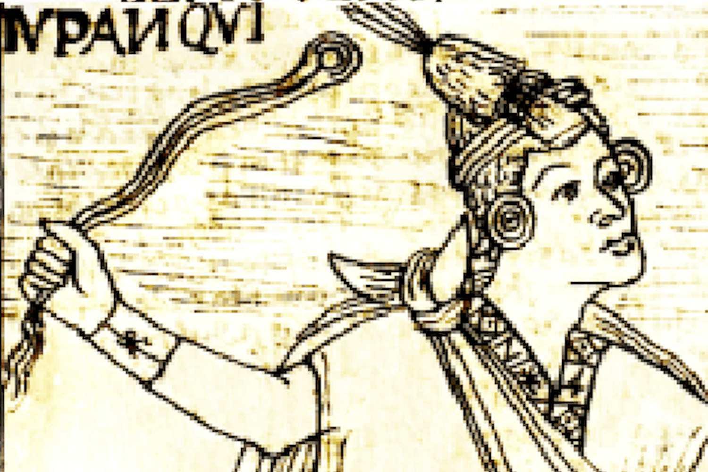 Pachacútec using a sling or Huaraca.