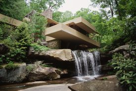 Frank Lloyd Wright's Fallingwater on a sunny day.