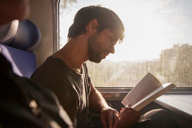 Man reading book on train