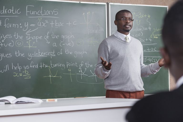 A teacher explaining quadratic functions to students, Cape Town, South Africa