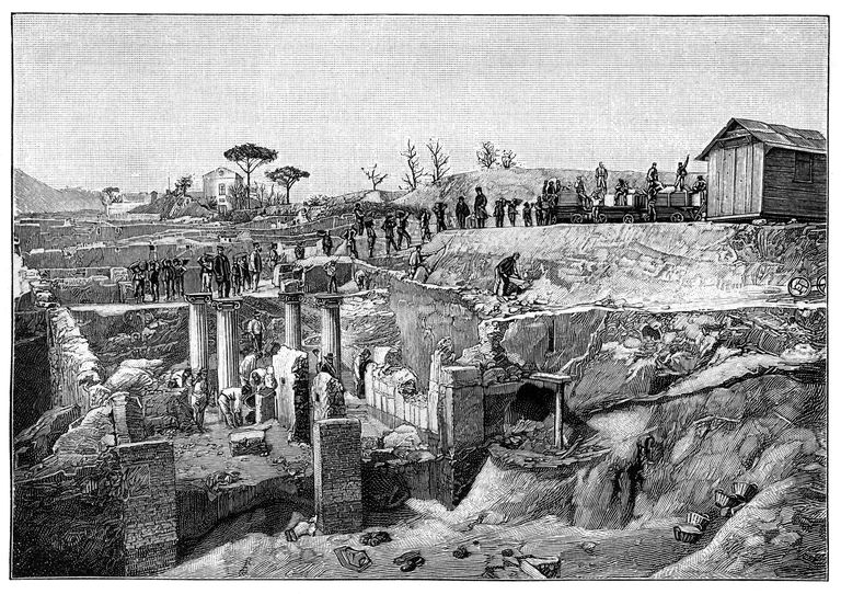 19th Century Woodcut Print of Excavations at Pompeii