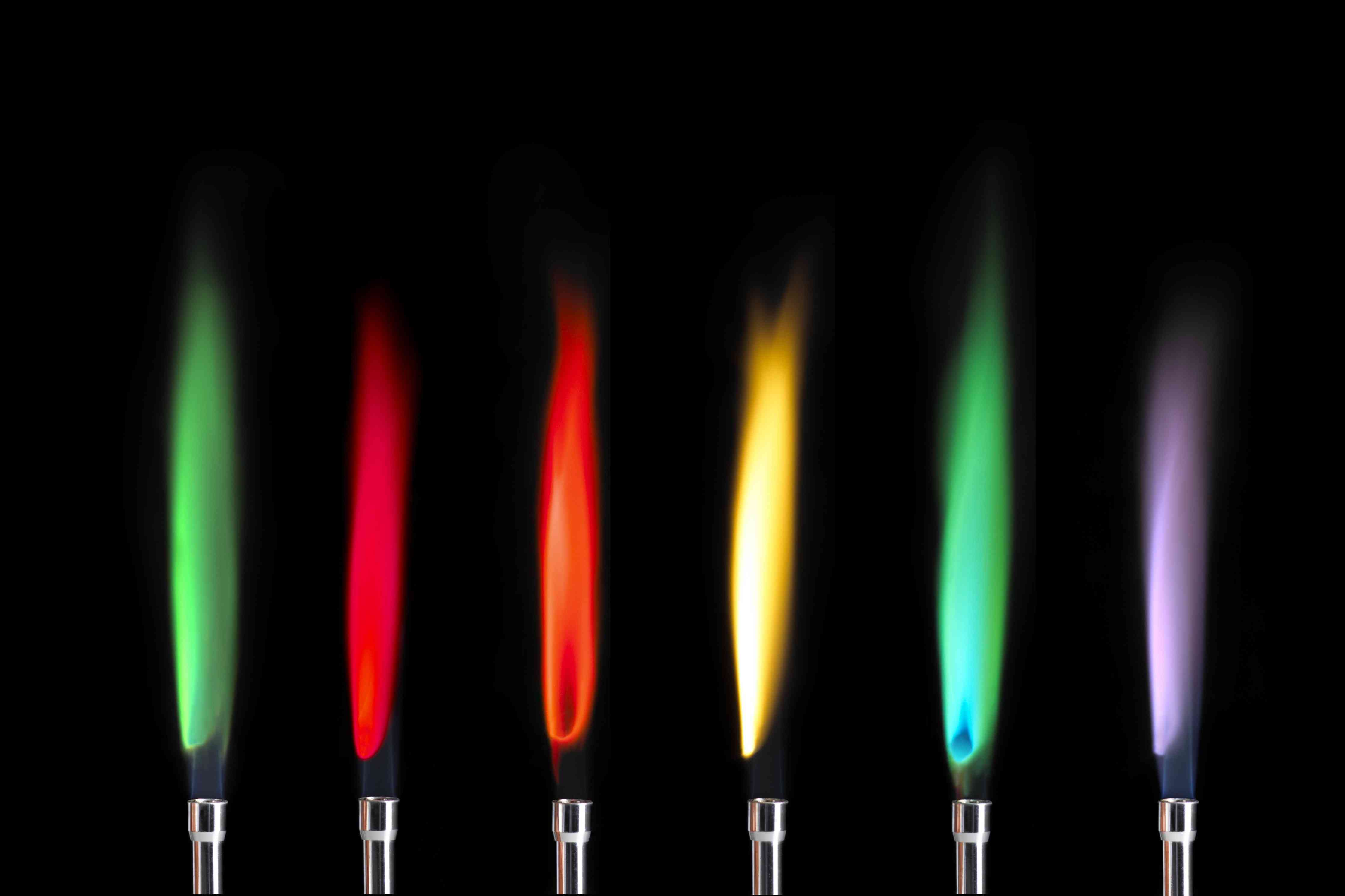 Row of flames in different colors.