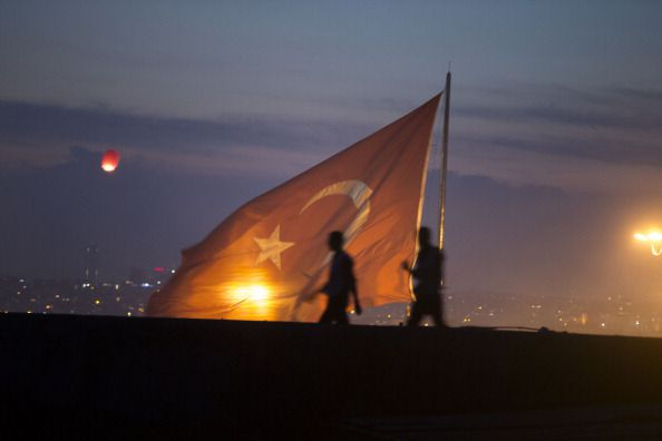 Two soldiers under the Turkish flag