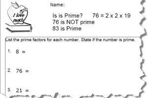 Prime Number Worksheet 1