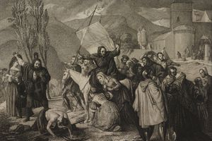 Peter Hermit preached on crusade, engraving from painting by Francesco Hayez, from Exhibition of Fine Arts in Brera, 1830