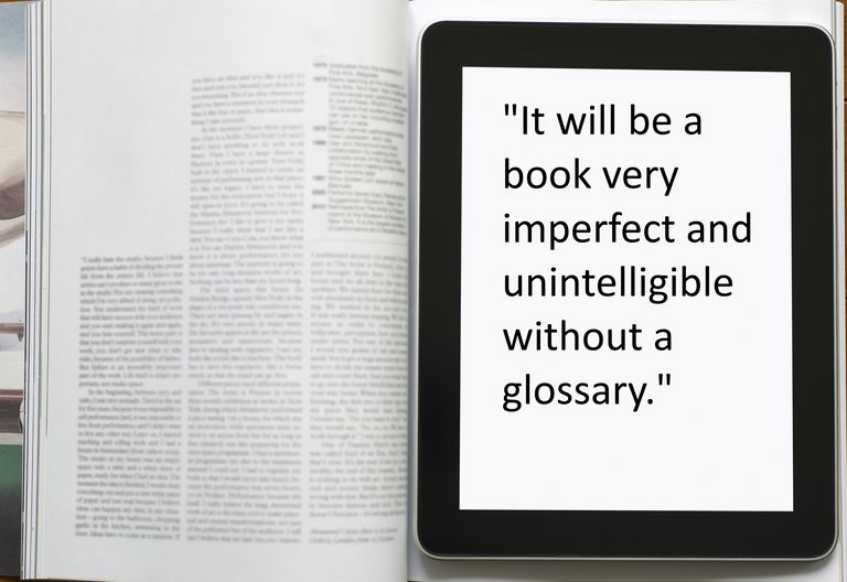 "Book with quote ""It will be a book very imperfect and unintelligible without a glossary"""