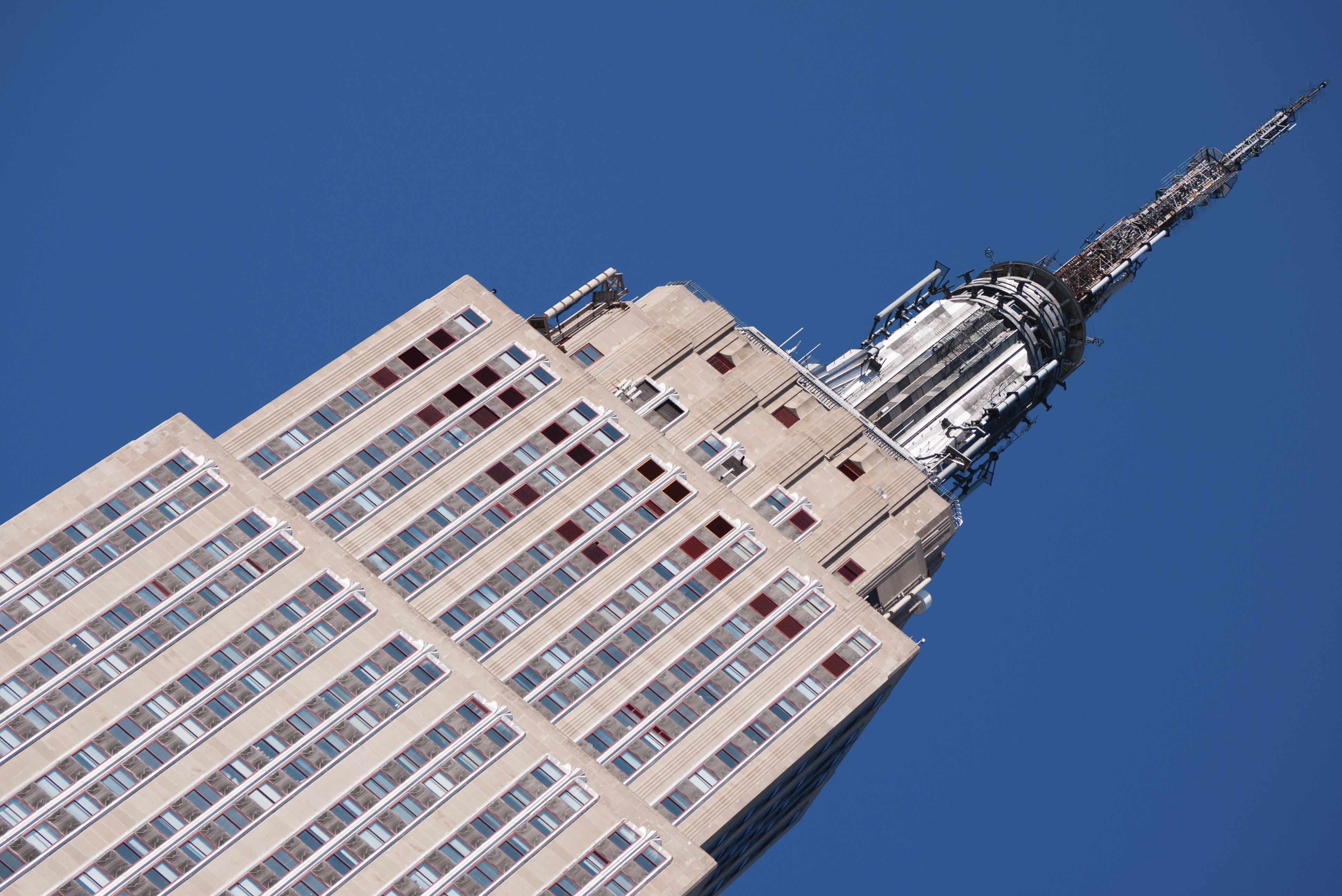 Close-up upper floors of the Art Deco Empire State Building in NYC