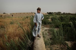 A Pashtun boy stands on a mud wall in his family's farm fields June 3, 2010 in Walakhan, a village south of Kandahar, Afghanistan