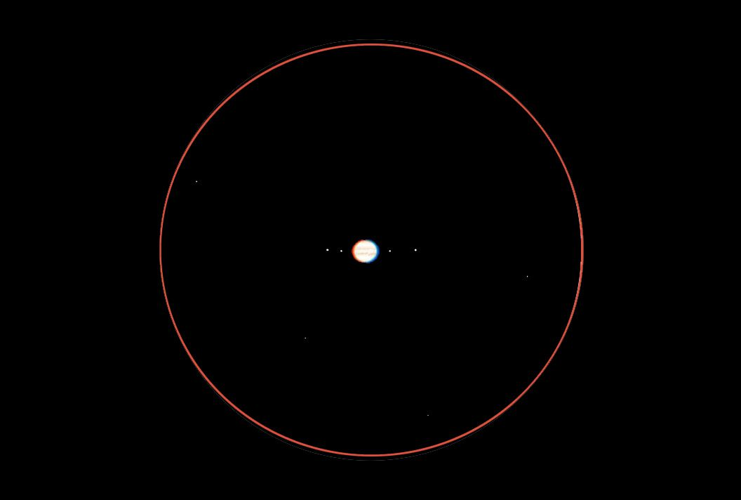 Jupiter through a four-inch telescope.