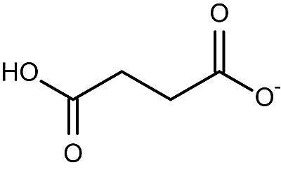 Esta es la estructura química del anión succinato (1−).
