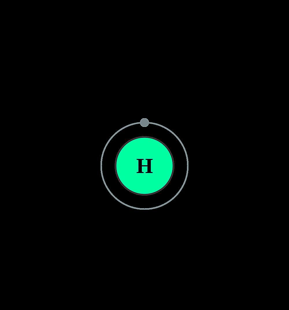 This diagram of the hydrogen atom depicts the electron shell of hydrogen.