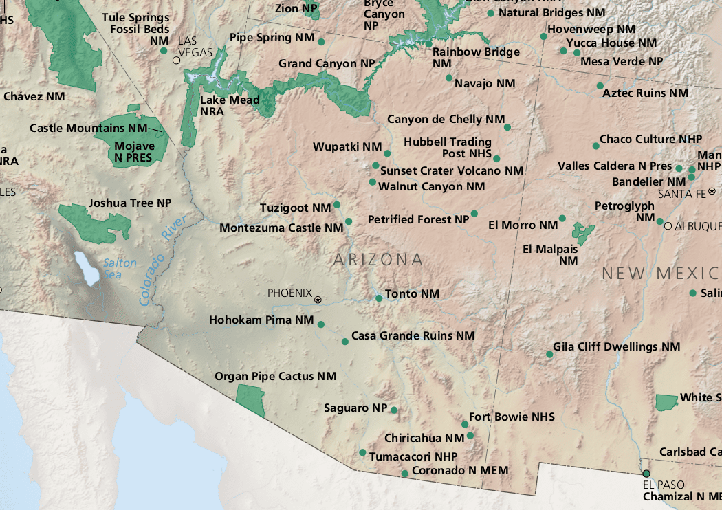 Map Of Arizona With National Parks.Arizona National Parks Petrified Wood And Volcanoes