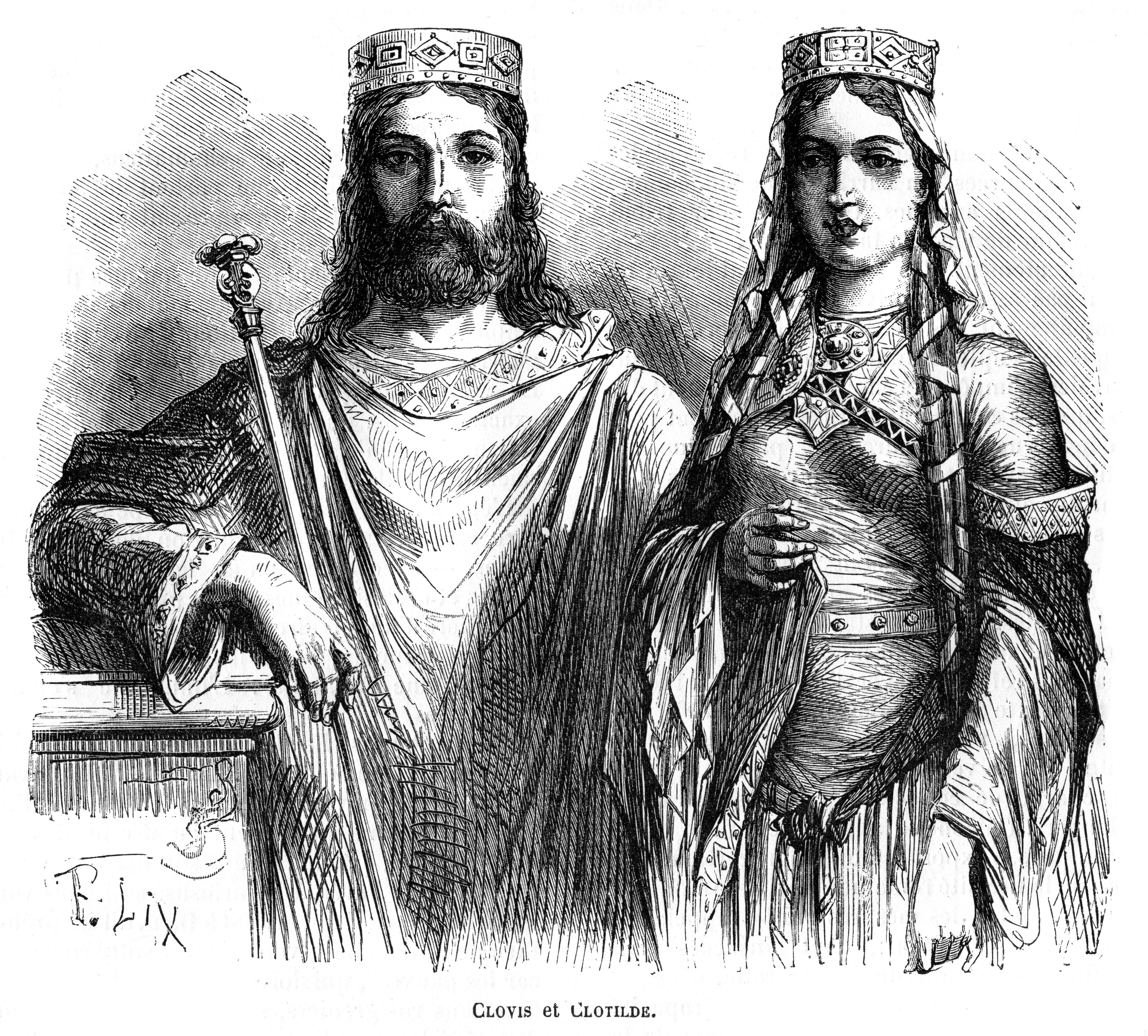 King Clovis I and Queen Clotilde of the Franks, late 5th - early 6th century (1882-1884).Artist: Frederic Lix