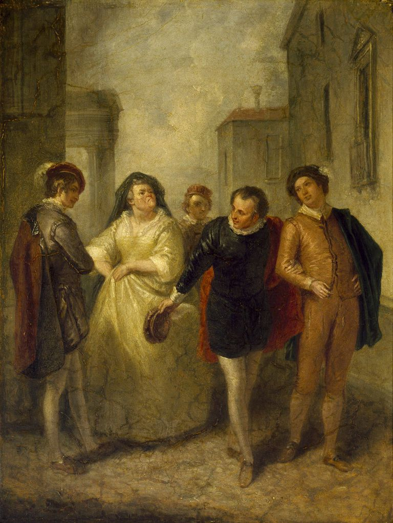 Mercutio bidding farewell to Juliet's nurse - by John Massey Wright