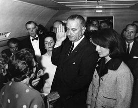 Lyndon B. Johnson sworn in on Air Force One