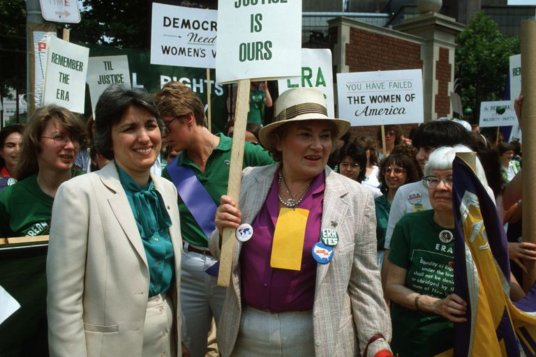Eleanor Smeal and Bella Abzug at 1982 Women's Rights Rally in New York City