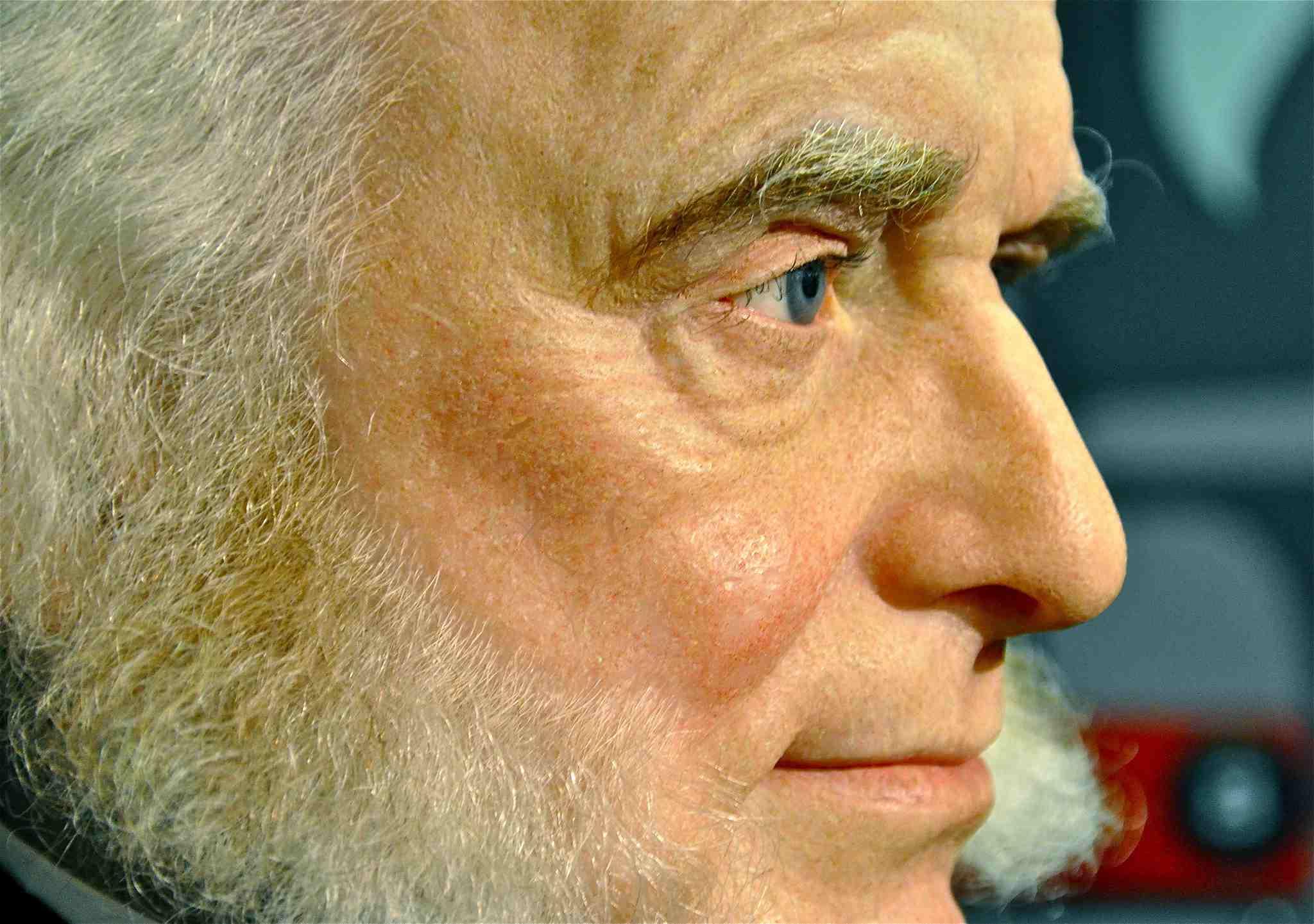 Close up picture of Martin Van Buren wax figure in profile.