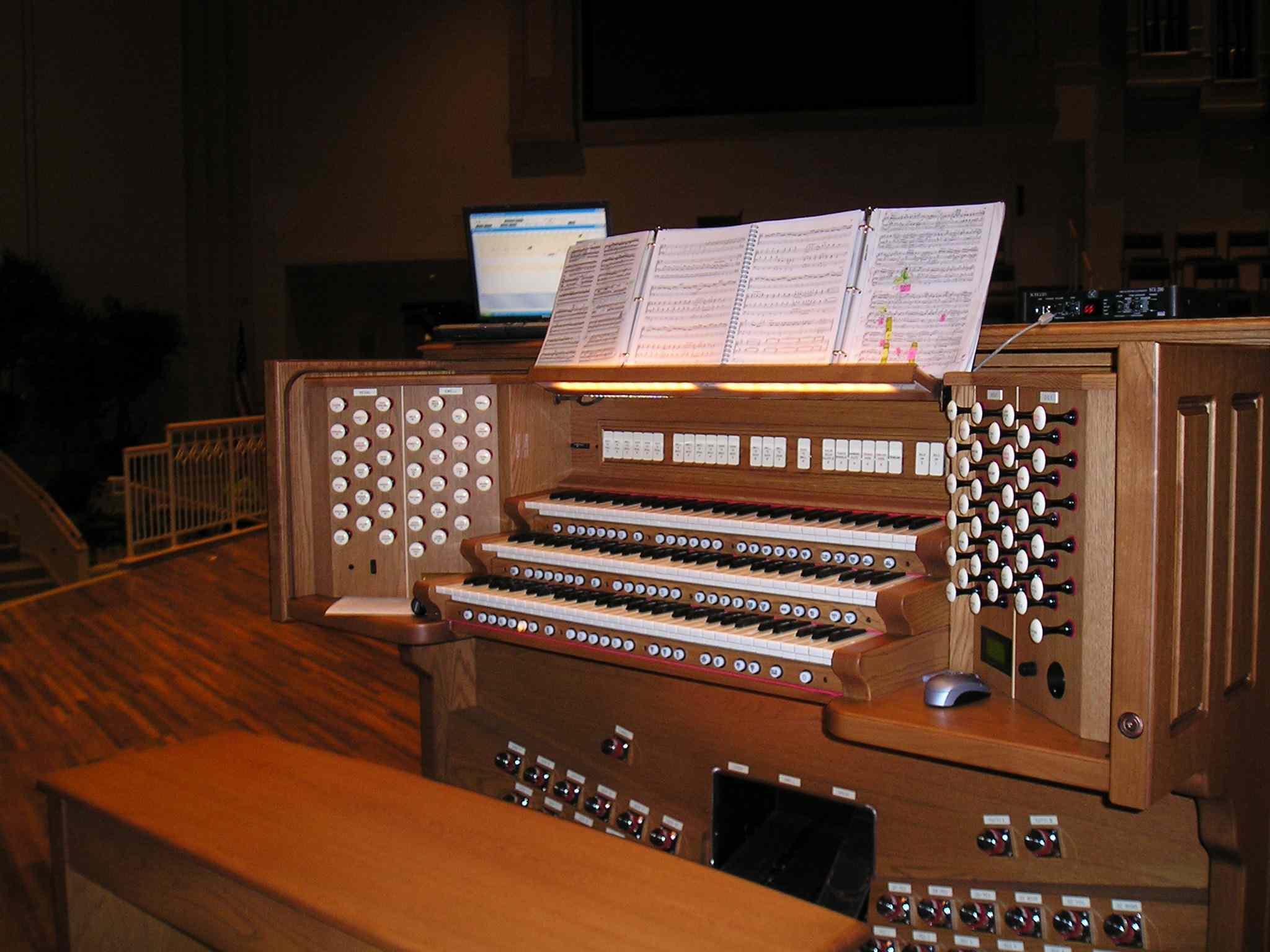 A custom three-manual Rodgers Trillium organ console