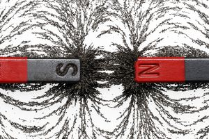 Iron filings sprinkled between two bar magnets