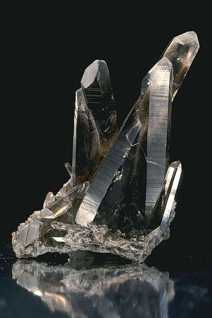 Crystals of smoky quartz.